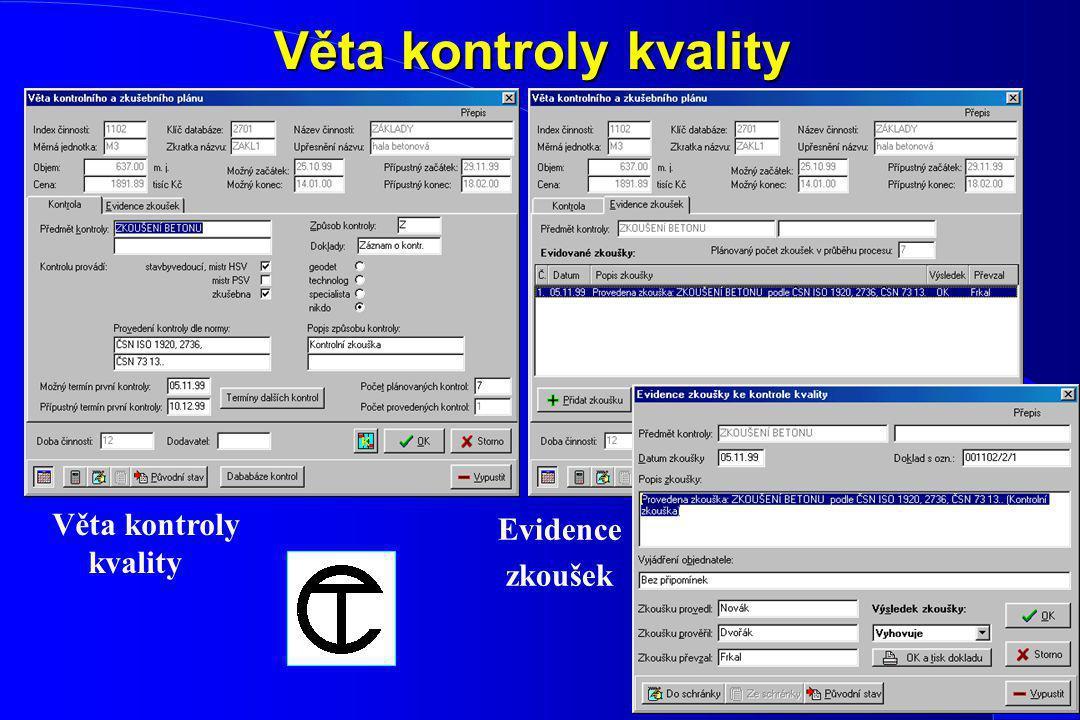 Věta kontroly kvality Věta kontroly kvality Evidence zkoušek