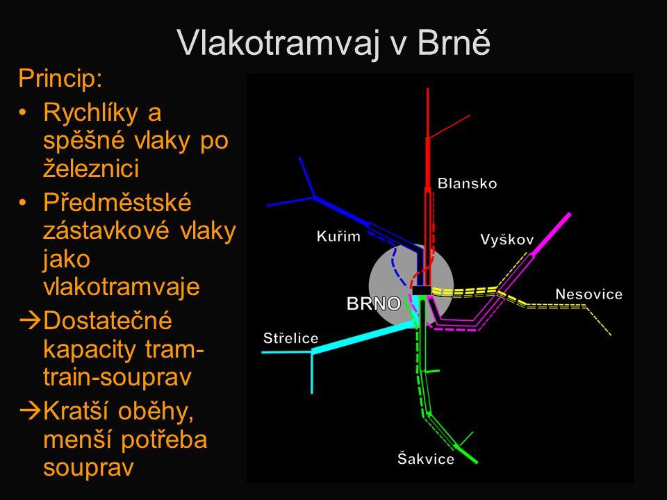 Vlakotramvaj v Brně Princip: Rychlíky a spěšné vlaky po železnici