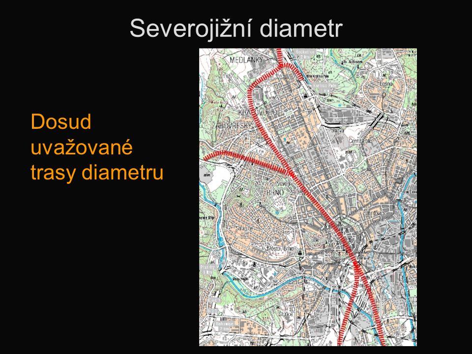 Severojižní diametr Dosud uvažované trasy diametru
