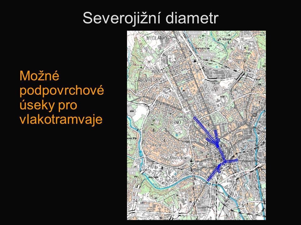 Severojižní diametr Možné podpovrchové úseky pro vlakotramvaje