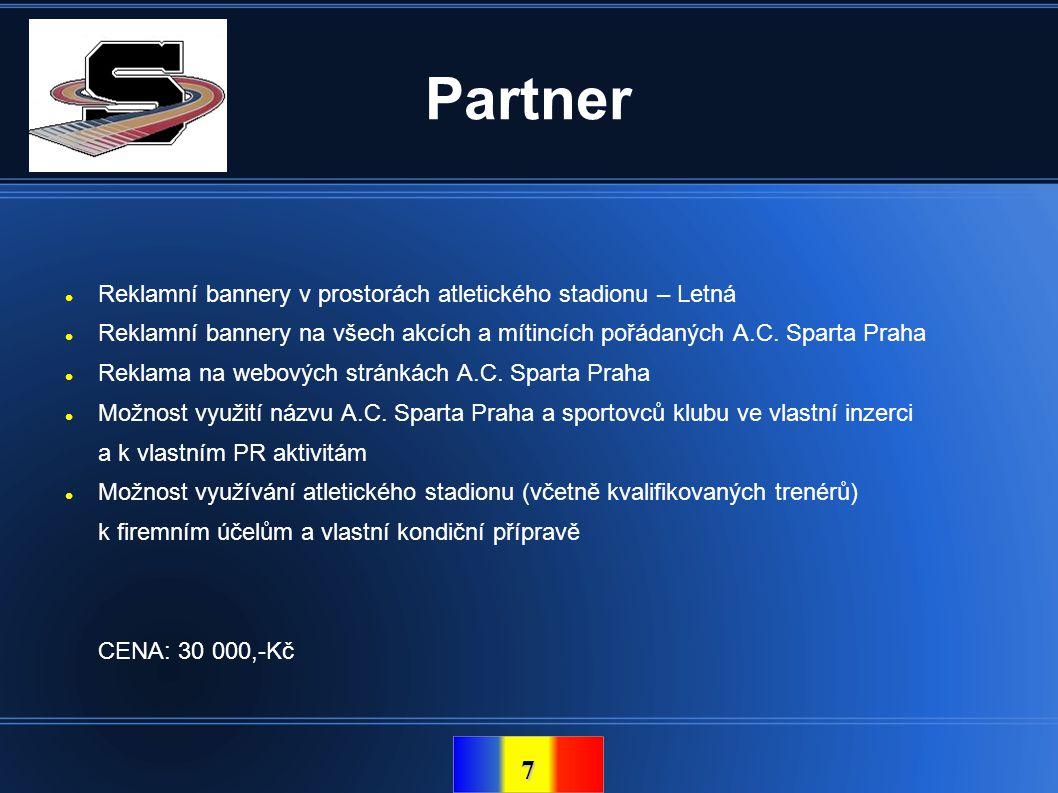 Partner Reklamní bannery v prostorách atletického stadionu – Letná