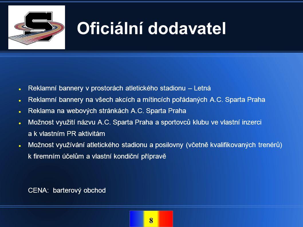 Oficiální dodavatel Reklamní bannery v prostorách atletického stadionu – Letná.