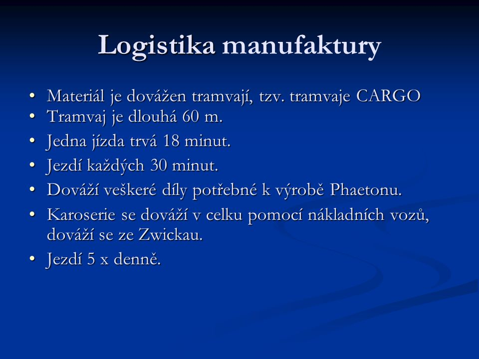 Logistika manufaktury