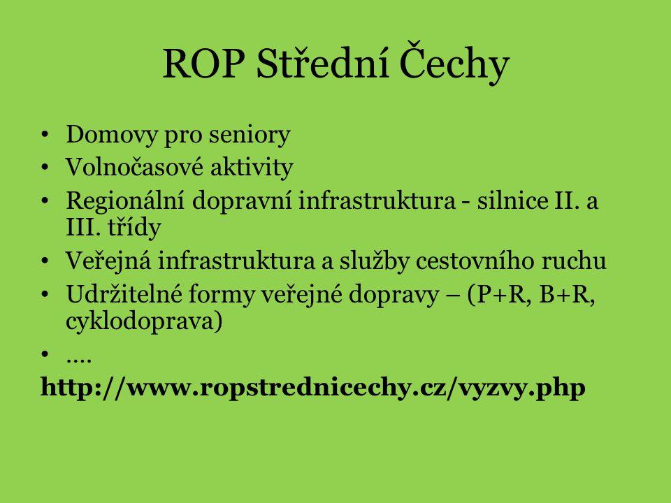 ROP Střední Čechy Domovy pro seniory Volnočasové aktivity