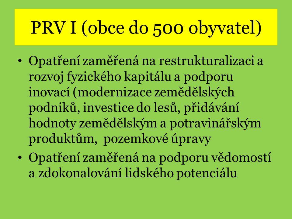 PRV I (obce do 500 obyvatel)