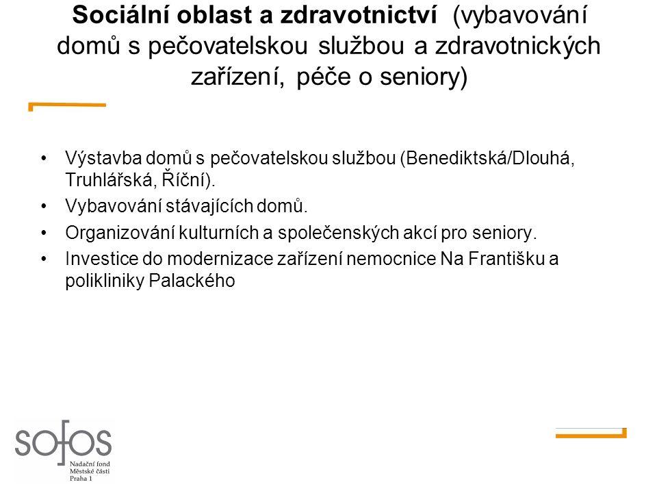 Sociální oblast a zdravotnictví (vybavování domů s pečovatelskou službou a zdravotnických zařízení, péče o seniory)