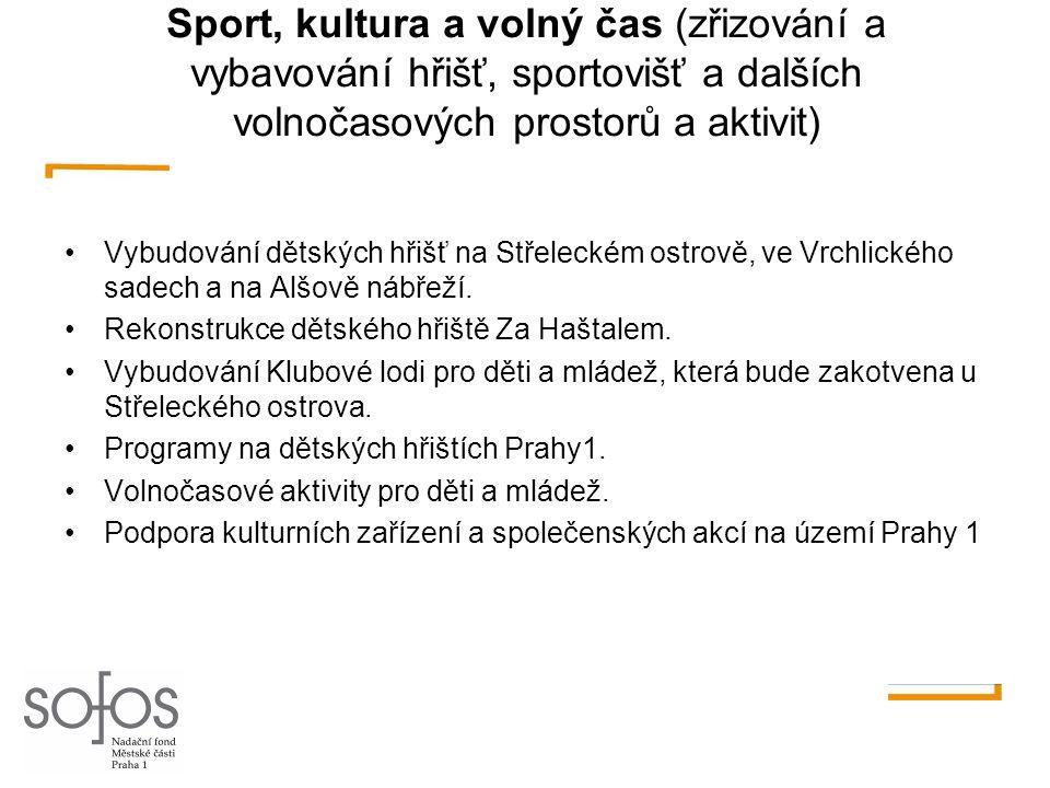 Sport, kultura a volný čas (zřizování a vybavování hřišť, sportovišť a dalších volnočasových prostorů a aktivit)