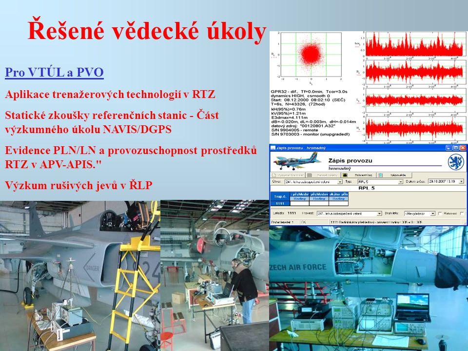 Řešené vědecké úkoly Pro VTÚL a PVO