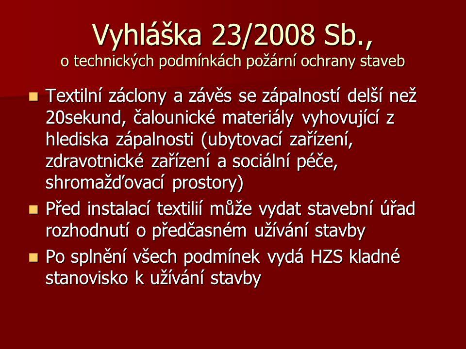 Vyhláška 23/2008 Sb., o technických podmínkách požární ochrany staveb
