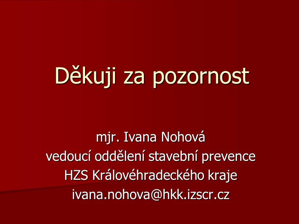 Děkuji za pozornost mjr. Ivana Nohová