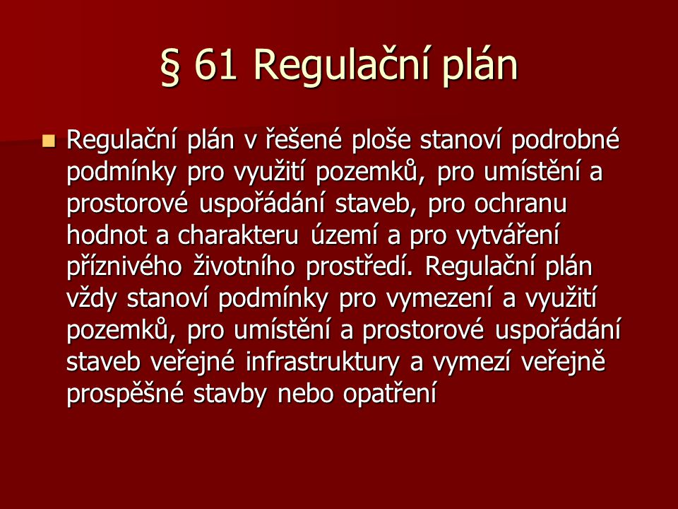 § 61 Regulační plán
