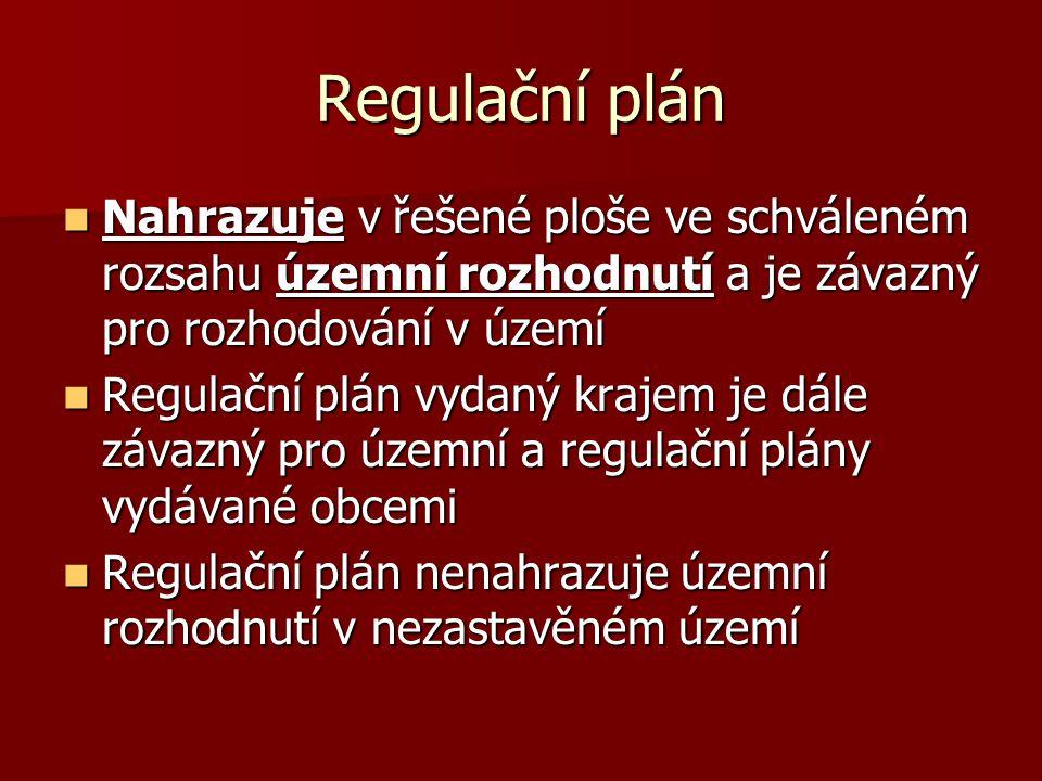 Regulační plán Nahrazuje v řešené ploše ve schváleném rozsahu územní rozhodnutí a je závazný pro rozhodování v území.