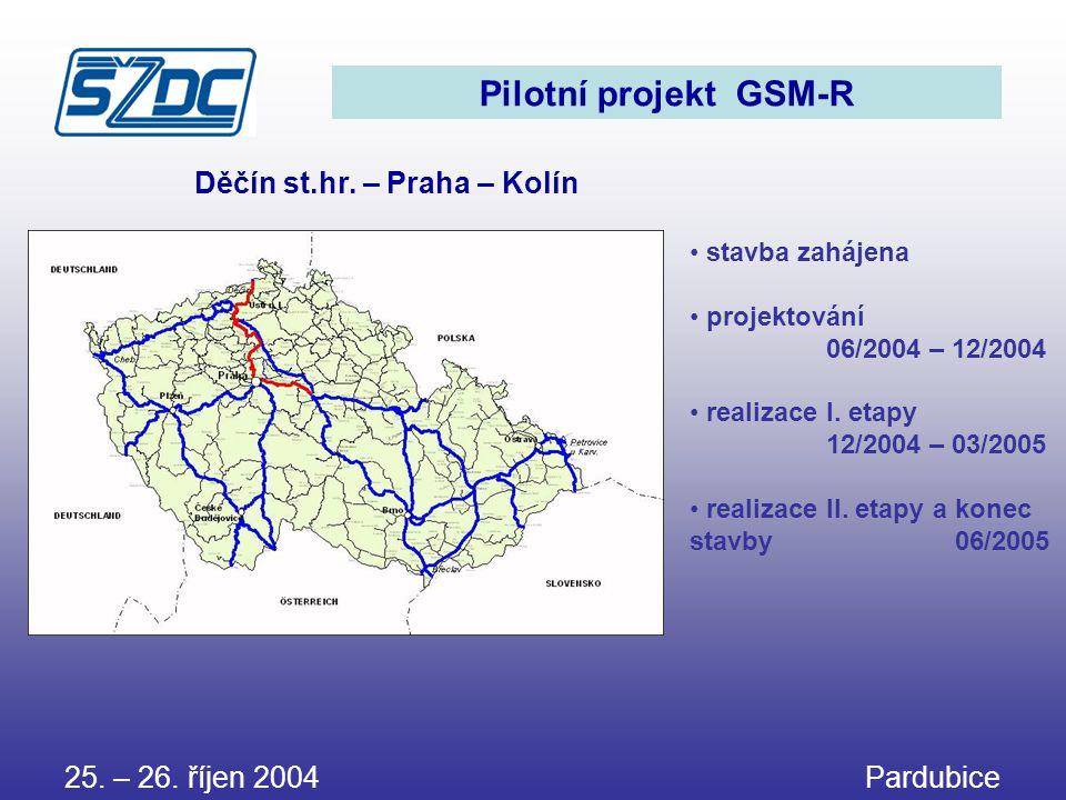 Pilotní projekt GSM-R Děčín st.hr. – Praha – Kolín