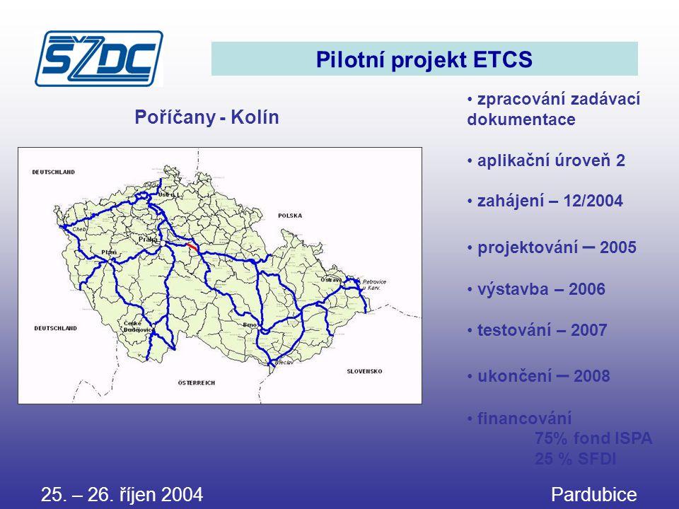 Pilotní projekt ETCS Poříčany - Kolín 25. – 26. říjen 2004 Pardubice