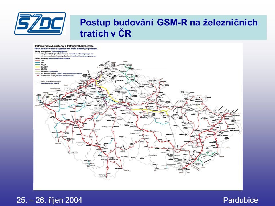 Postup budování GSM-R na železničních tratích v ČR