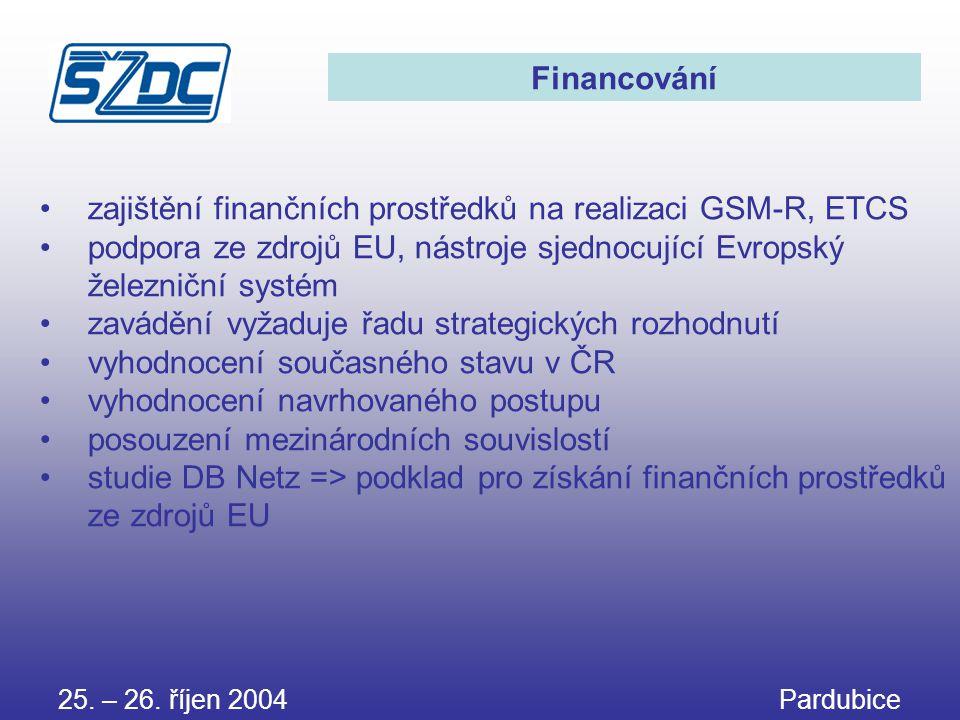 zajištění finančních prostředků na realizaci GSM-R, ETCS
