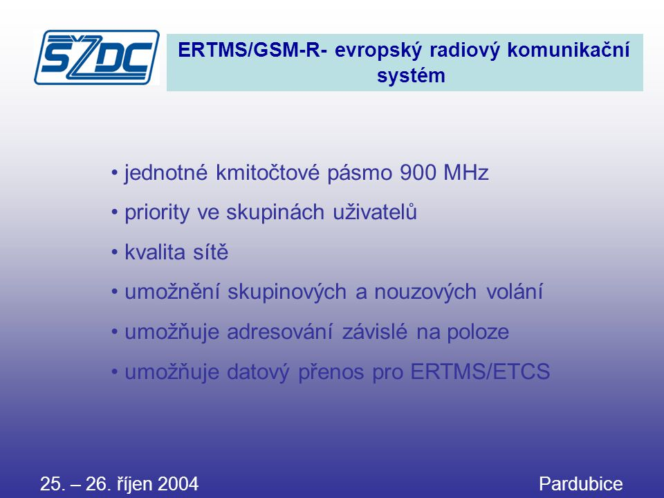 jednotné kmitočtové pásmo 900 MHz priority ve skupinách uživatelů