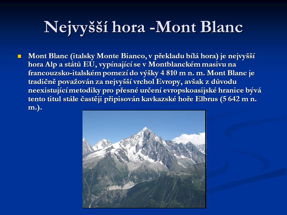 Nejvyšší hora -Mont Blanc