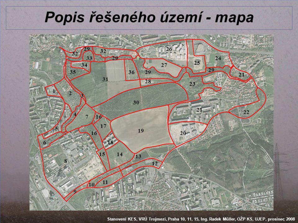 Popis řešeného území - mapa
