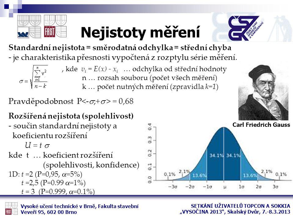 Nejistoty měření Standardní nejistota = směrodatná odchylka = střední chyba. - je charakteristika přesnosti vypočtená z rozptylu série měření.
