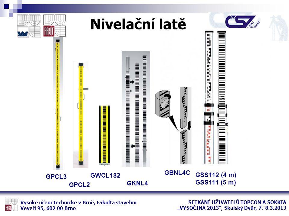 Nivelační latě GBNL4C GWCL182 GSS112 (4 m) GPCL3 GSS111 (5 m) GKNL4
