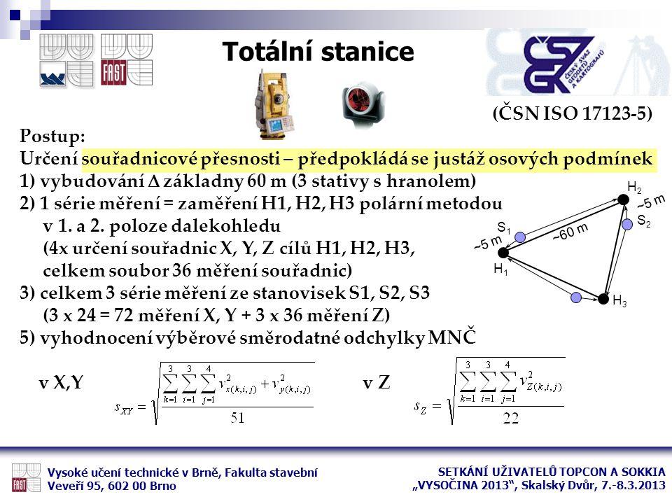 Totální stanice (ČSN ISO 17123-5) Postup: