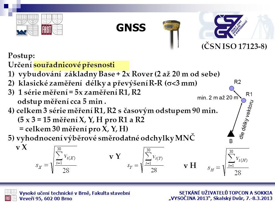 GNSS (ČSN ISO 17123-8) Postup: Určení souřadnicové přesnosti