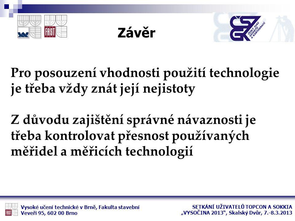 Závěr Pro posouzení vhodnosti použití technologie je třeba vždy znát její nejistoty.