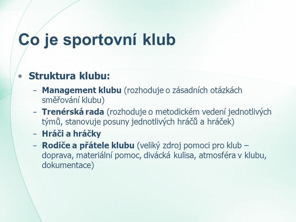 Co je sportovní klub Struktura klubu: