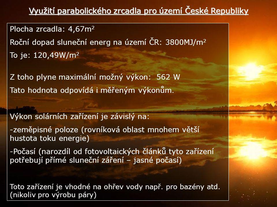 Využití parabolického zrcadla pro území České Republiky