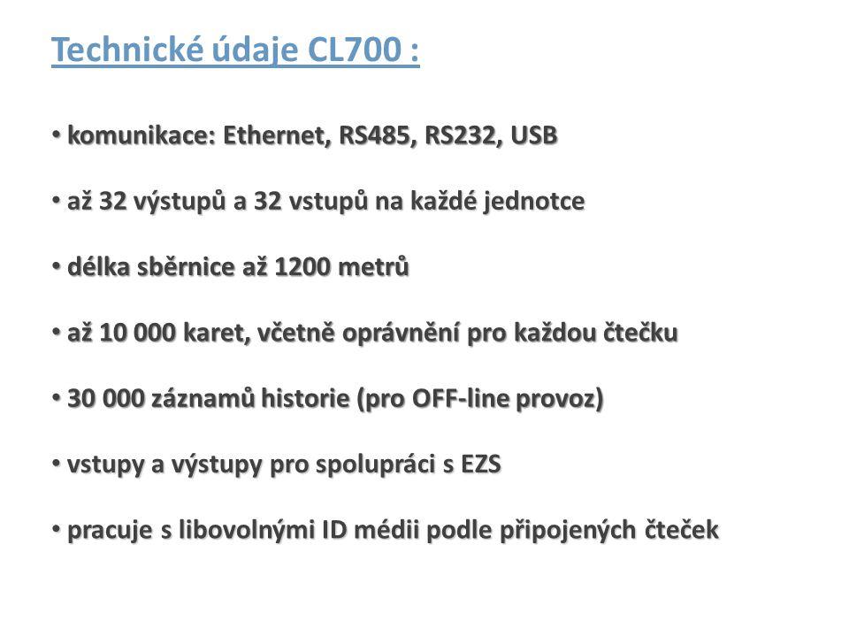 Technické údaje CL700 : komunikace: Ethernet, RS485, RS232, USB