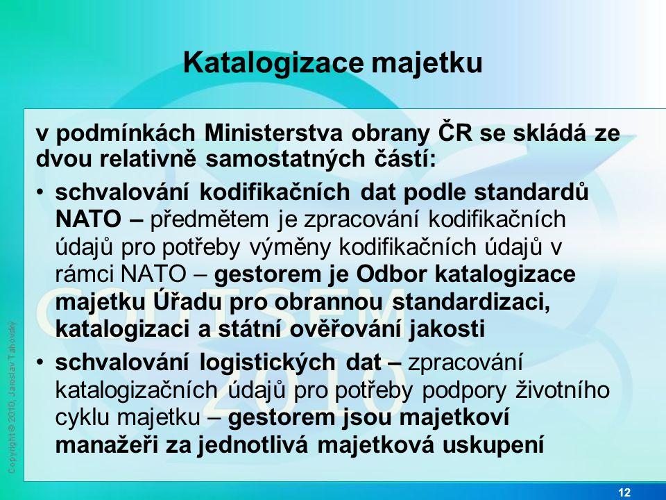 Katalogizace majetku v podmínkách Ministerstva obrany ČR se skládá ze dvou relativně samostatných částí: