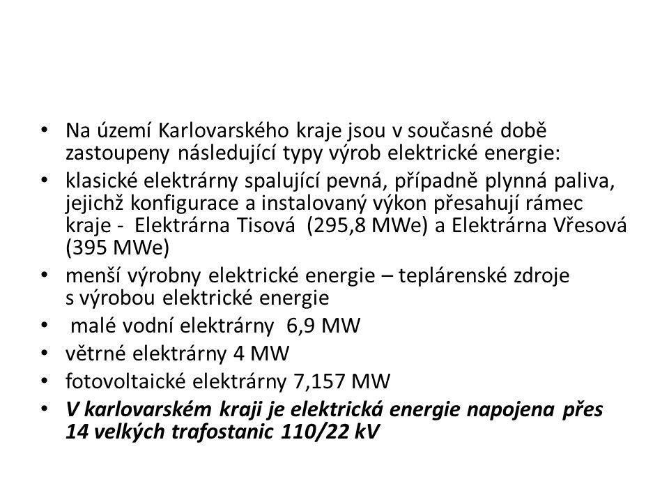 Na území Karlovarského kraje jsou v současné době zastoupeny následující typy výrob elektrické energie: