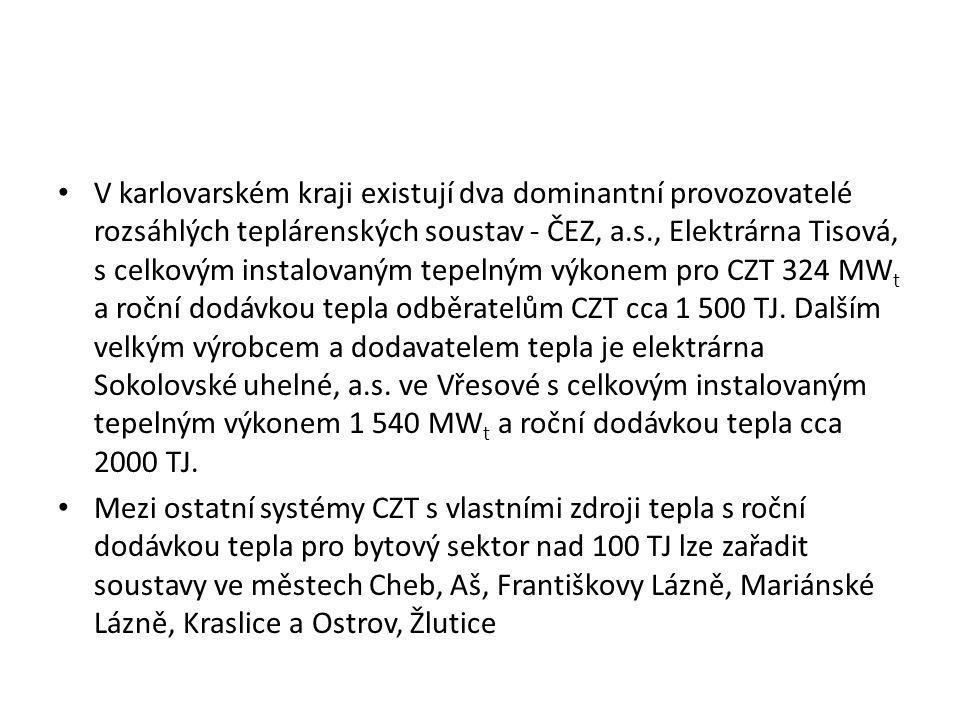 V karlovarském kraji existují dva dominantní provozovatelé rozsáhlých teplárenských soustav - ČEZ, a.s., Elektrárna Tisová, s celkovým instalovaným tepelným výkonem pro CZT 324 MWt a roční dodávkou tepla odběratelům CZT cca 1 500 TJ. Dalším velkým výrobcem a dodavatelem tepla je elektrárna Sokolovské uhelné, a.s. ve Vřesové s celkovým instalovaným tepelným výkonem 1 540 MWt a roční dodávkou tepla cca 2000 TJ.