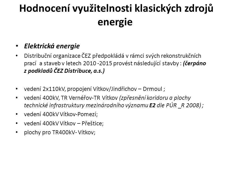 Hodnocení využitelnosti klasických zdrojů energie