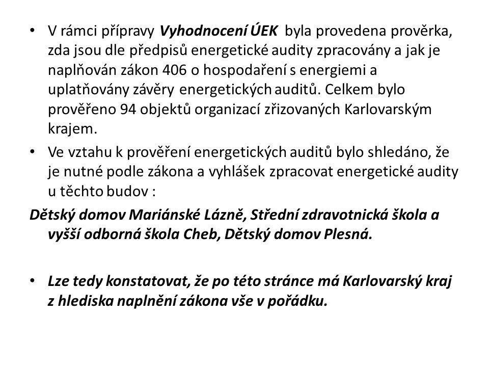 V rámci přípravy Vyhodnocení ÚEK byla provedena prověrka, zda jsou dle předpisů energetické audity zpracovány a jak je naplňován zákon 406 o hospodaření s energiemi a uplatňovány závěry energetických auditů. Celkem bylo prověřeno 94 objektů organizací zřizovaných Karlovarským krajem.