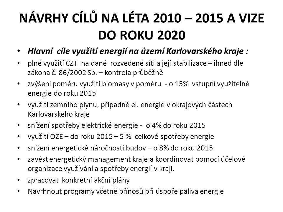 návrhy cílů na léta 2010 – 2015 a vize do roku 2020
