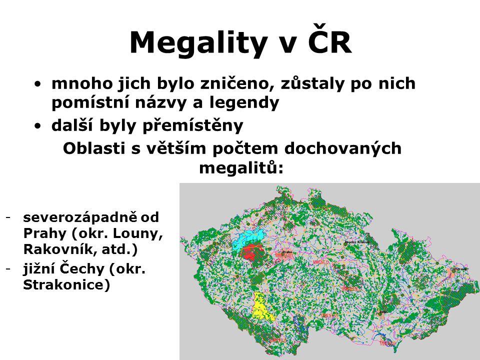 Oblasti s větším počtem dochovaných megalitů: