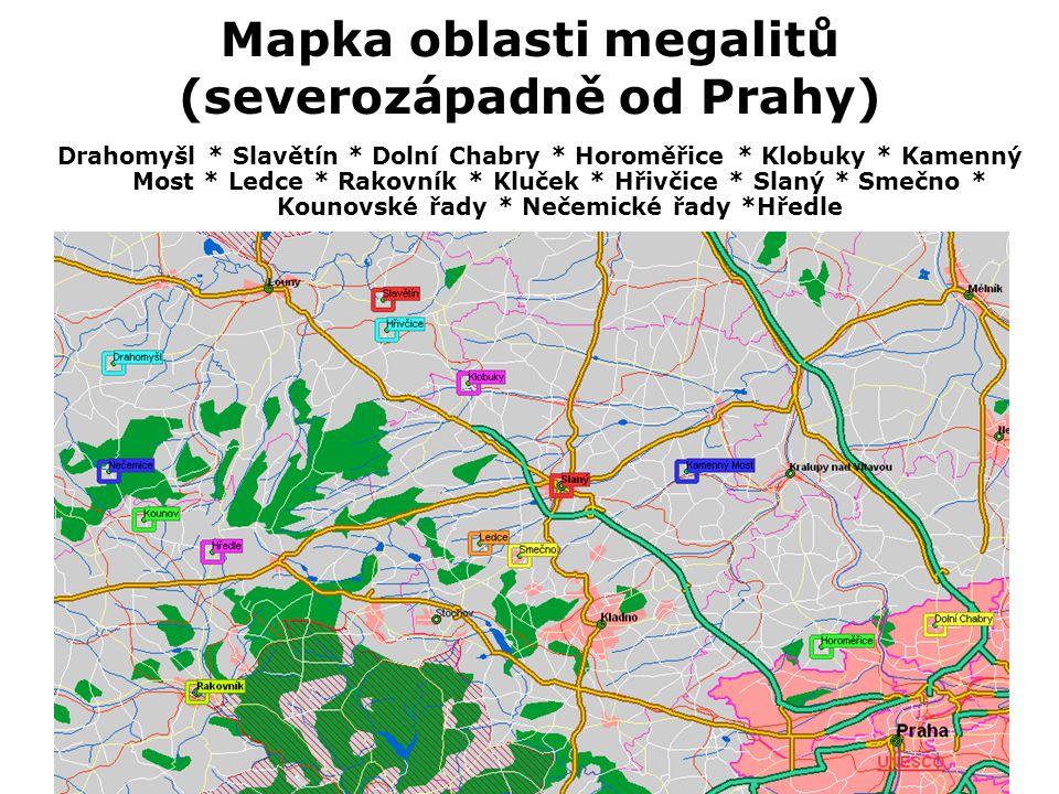 Mapka oblasti megalitů (sevеrozápadně od Prahy)