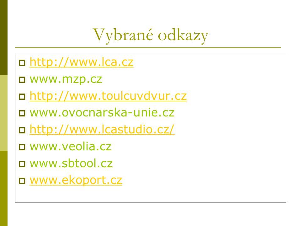 Vybrané odkazy http://www.lca.cz www.mzp.cz http://www.toulcuvdvur.cz