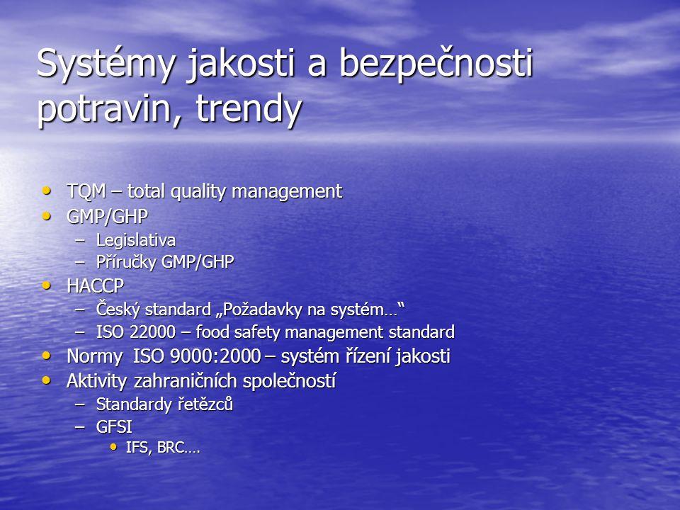Systémy jakosti a bezpečnosti potravin, trendy