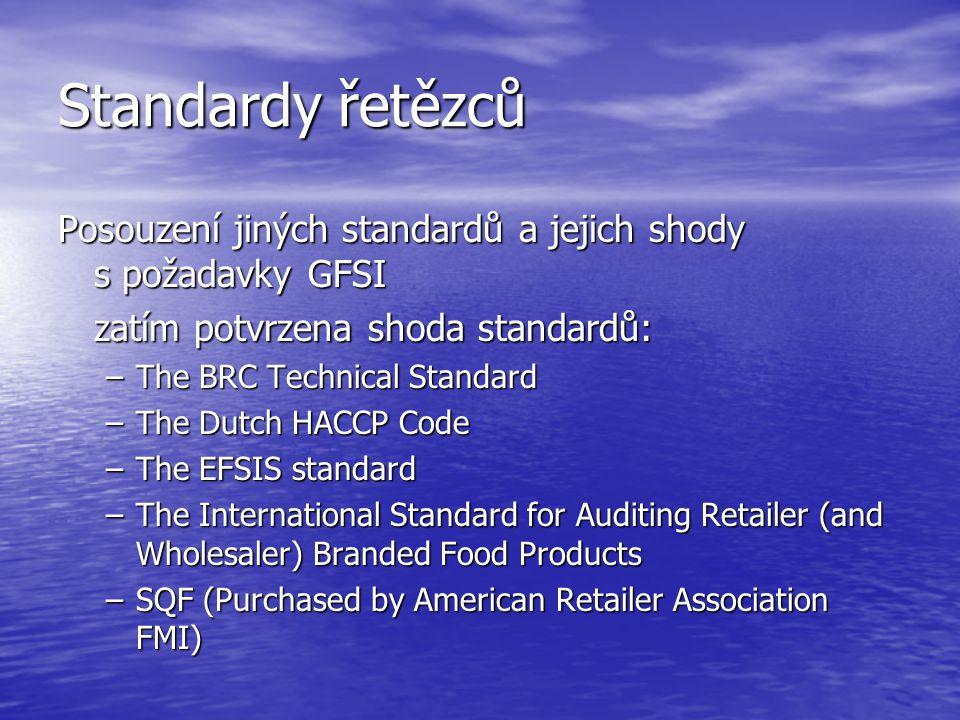 Standardy řetězců Posouzení jiných standardů a jejich shody s požadavky GFSI. zatím potvrzena shoda standardů: