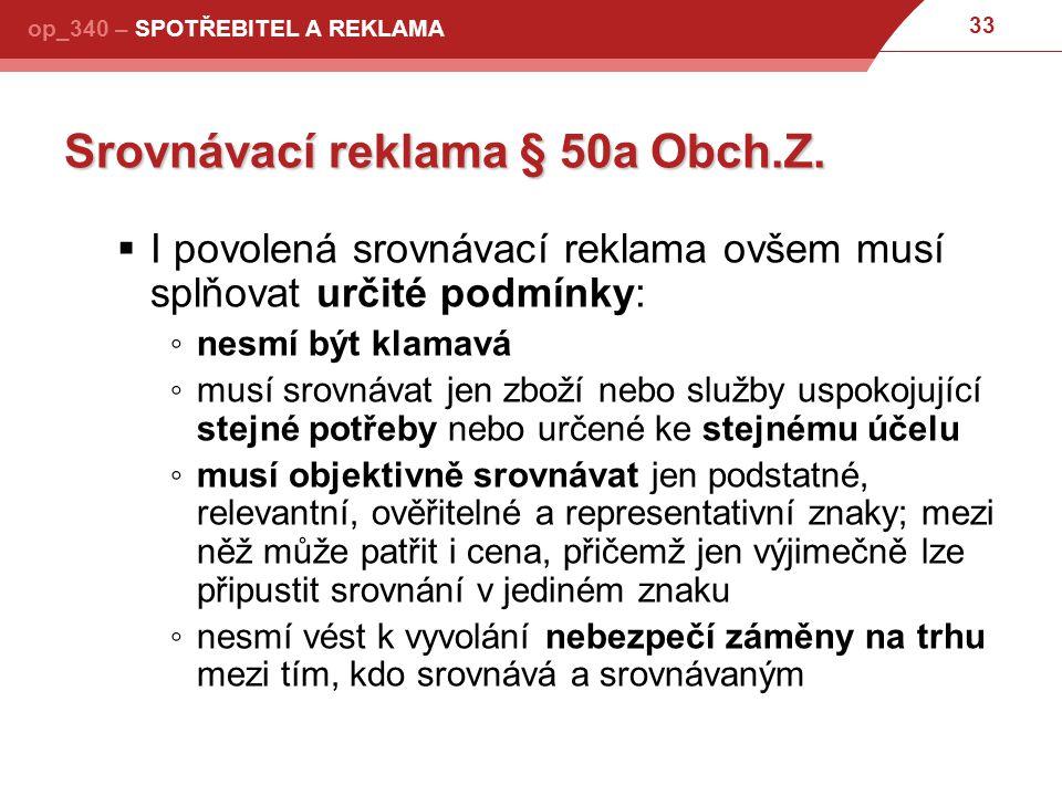 Srovnávací reklama § 50a Obch.Z.