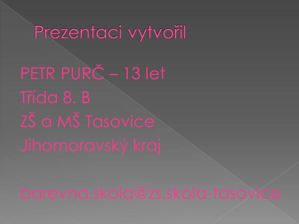 Prezentaci vytvořil PETR PURČ – 13 let Třída 8. B ZŠ a MŠ Tasovice