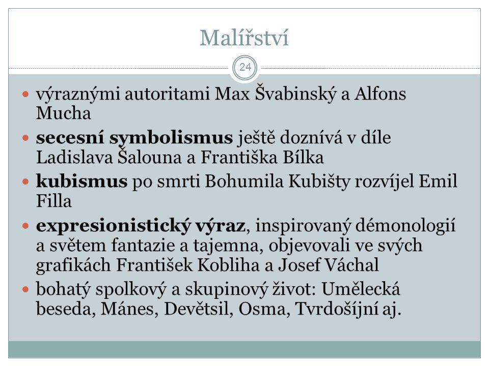 Malířství výraznými autoritami Max Švabinský a Alfons Mucha