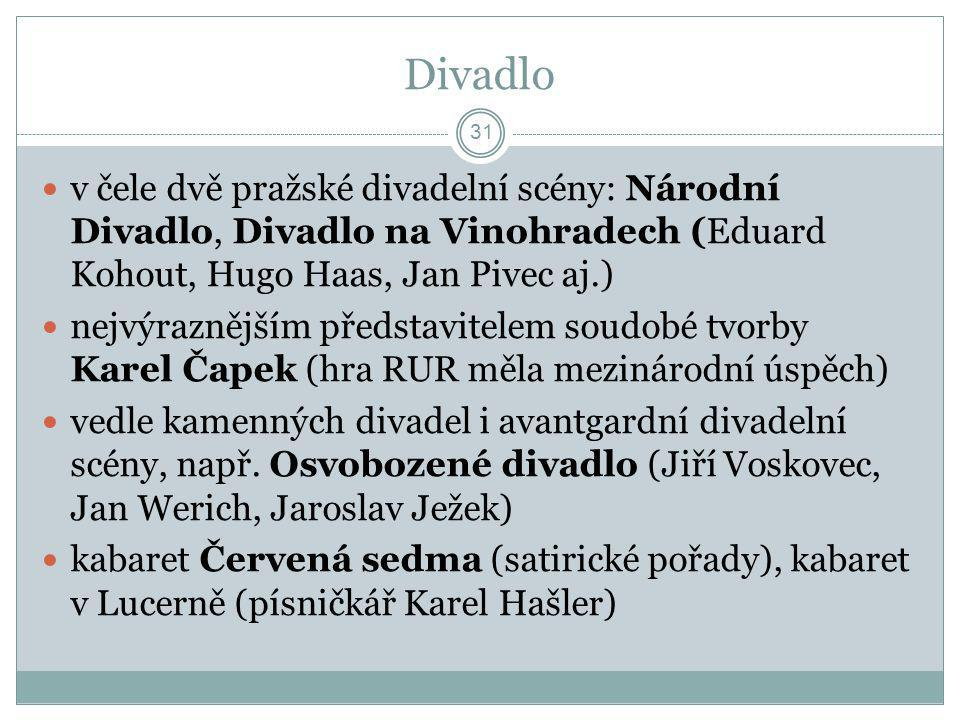 Divadlo v čele dvě pražské divadelní scény: Národní Divadlo, Divadlo na Vinohradech (Eduard Kohout, Hugo Haas, Jan Pivec aj.)