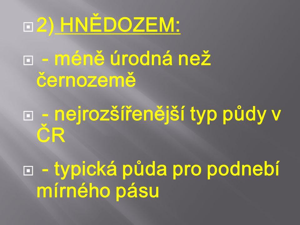 2) HNĚDOZEM: - méně úrodná než černozemě. - nejrozšířenější typ půdy v ČR.