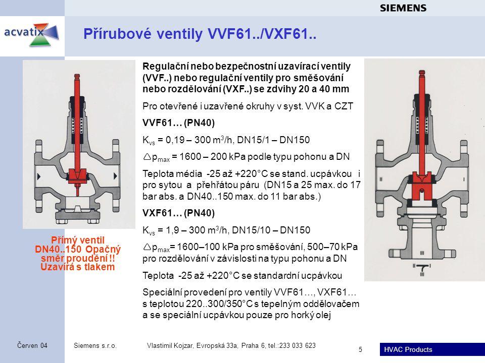 Přírubové ventily VVF61../VXF61..