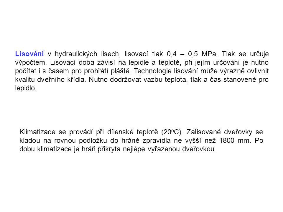 Lisování v hydraulických lisech, lisovací tlak 0,4 – 0,5 MPa