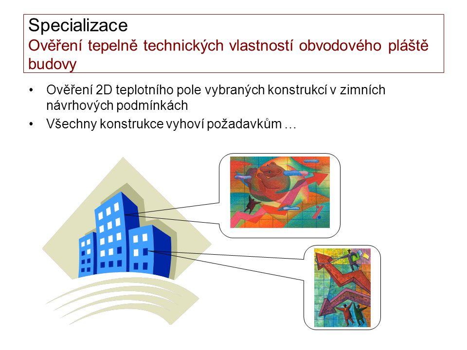 Specializace Ověření tepelně technických vlastností obvodového pláště budovy